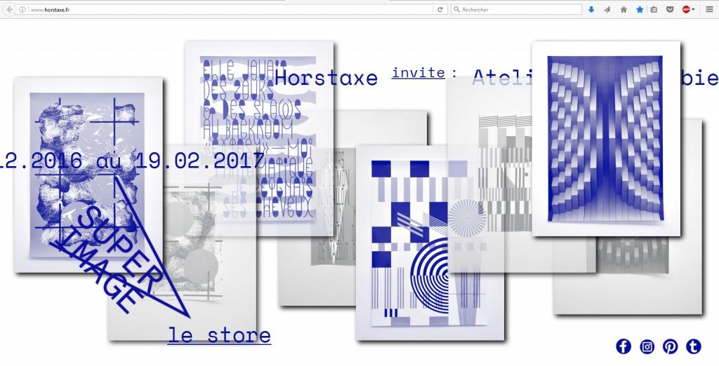 Page web qui renvoie directement à la boutique en ligne d'Horstaxe, décembre 2016. Conception graphique et développement : Marjorie Ober.